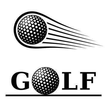 golf ball motion line text symbol vector