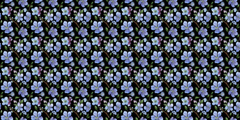 Wildflower cherry flower pattern  in a watercolor style isolated.
