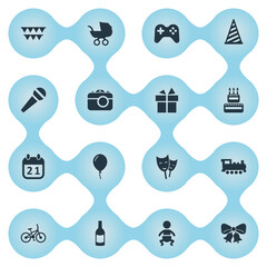 Vector Illustration Set Of Simple Holiday Icons. Elements Bicycle, Baby Carriage, Beverage And Other Synonyms Sport, Balloon And Aerostat.
