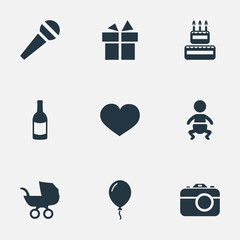 Vector Illustration Set Of Simple Birthday Icons. Elements Speech, Confectionery, Infant And Other Synonyms Camera, Sweetmeat And Microphone.