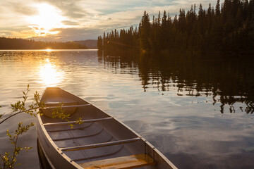 Frenchman Lake Yukon Canada canoe sunset scene