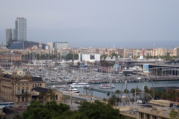 Poster Ville sur l eau Barcelona port, view from the Montjuic