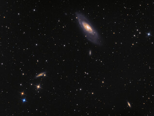 "Galaxy M106 (Messier 106, NGC 4258) in constellation Canes Venatici. Amateur photography made with 6"" newton telescope 750mm and scientific camera. Total exposure time 4h24m."