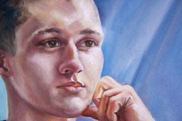 Handsome young man's face. Portrait of a cheerful teen guy.Oil painting