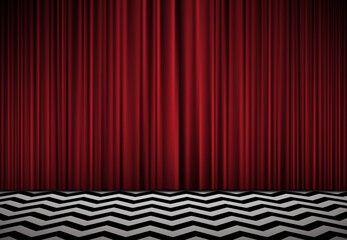 Red room. Horisontal background with red velvet curtains and black and white floor.