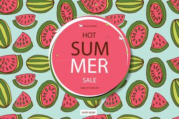 Summer sale vector in watermelon background