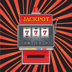Bright vector illustration on jackpot theme. Red slot machine with three sevens on abstract striped background.