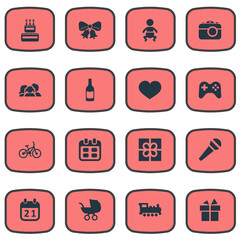 Vector Illustration Set Of Simple Birthday Icons. Elements Bicycle, Domestic, Special Day And Other Synonyms Box, Bike And History.