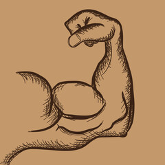 Strong power, muscle arm with trendy hand drawn sketch style vector icon