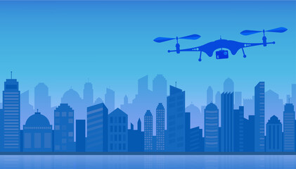Flying Drone and Cityscape Vector Illustration