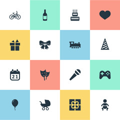Vector Illustration Set Of Simple Birthday Icons. Elements Confectionery, Beverage, Game And Other Synonyms Present, Cap And Joystick.