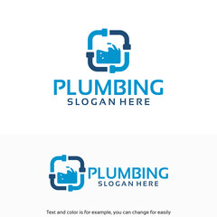 Plumbing Service logo designs Template with water symbol