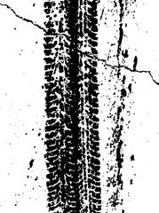 Pattern wet car wheels on the asphalt. Road theme. Vector illustration. Urban design. Black and white grunge texture.