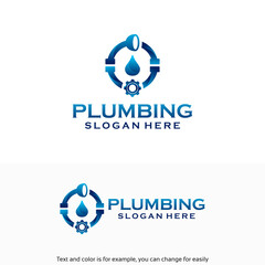 Plumbing Service logo designs Template with water drop