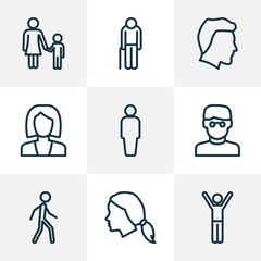 People Outline Icons Set. Collection Of Mother, Smart Man, Head And Other Elements. Also Includes Symbols Such As Female, Clever, Smart.