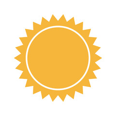 yellow sun sunlight, summer climate symbol vector illustration