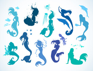 Sealife set, doodle sketched mermaid collection. Hand drawn realistic sketches of floating, lying, singing, playing, happy mermaids. Vector illustration. Silhouettes, isolated on white background.