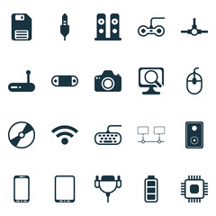 Hardware Icons Set. Collection Of Chip, Diskette, Audio Device And Other Elements. Also Includes Symbols Such As Dskette, Speaker, Monitor.