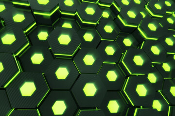 Abstract green of futuristic surface hexagon pattern with light rays. 3D Rendering