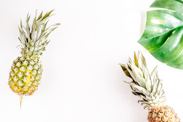 pineapple for exotic fruits design on white background top view space for text