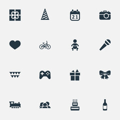 Vector Illustration Set Of Simple Celebration Icons. Elements Ribbon, Domestic, Train And Other Synonyms Heart, Prize And Play.