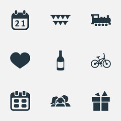 Vector Illustration Set Of Simple Celebration Icons. Elements Ribbon, Decorations;, Domestic And Other Synonyms Day, Family And Train.