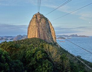 Cable car going up to sugar loaf mountain