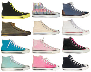 vintage style of sport colorful sneaker shoes on white background