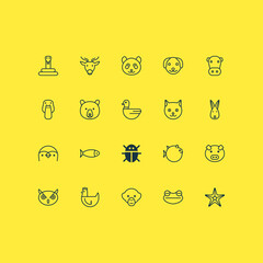 Zoology Icons Set. Collection Of Baboon, Piglet, Goose And Other Elements. Also Includes Symbols Such As Frog, Pig, Reptile.