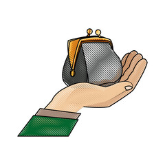 drawing hand man business with money purse vector illustration