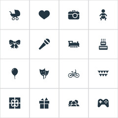 Vector Illustration Set Of Simple Birthday Icons. Elements Confectionery, Aerostat, Resonate And Other Synonyms Steam, Present And Stroller.