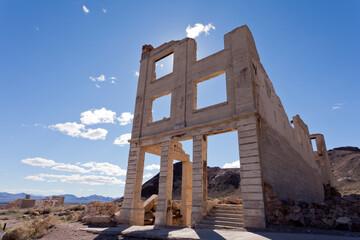 Rhyolite Nevada USA ghost town bank building ruins