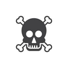 Skull and bones icon vector, filled flat sign, solid pictogram isolated on white. Poison symbol, logo illustration. Pixel perfect