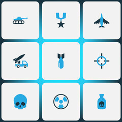 Battle Colorful Icons Set. Collection Of Tank, Skull, Artillery And Other Elements. Also Includes Symbols Such As Poison, Radiation, Rewand.