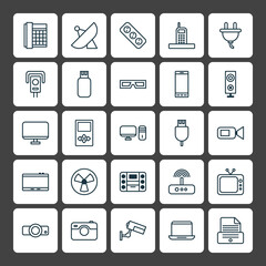 Icons Set. Collection Of Surveillance, Security Camera, Work Phone And Other Elements. Also Includes Symbols Such As Monitor, Usb, Ventilator.