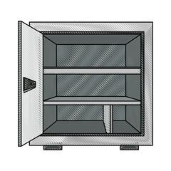 security metal safe money, open lock bank. vector illustration