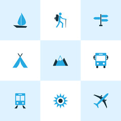 Exploration Colorful Icons Set. Collection Of Sail, Bus, Tourist And Other Elements. Also Includes Symbols Such As Dome, Sun, Transport.