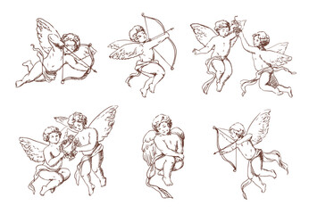 Set of different vintage cupid. Various flying angels with arrows and bow collection. Vector monochrome amur hand drawn illustration.
