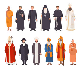 Set of religion people. Different characters collection buddhist monk, christian priests, patriarchs, rabbi judaist, muslim mullah, sikh, hindu leader, krishnaite. Colorful vector illustration.