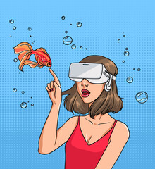 Concept of virtual reality. Girl in 3d-glasses and goldfish. Colorful comics vector illustration in pop art style.