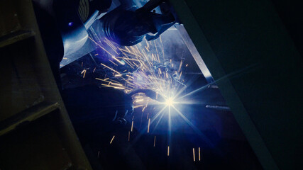 Close up of welder at work in metal industry
