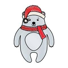 cute scribble christmas bear cartoon vector graphic design