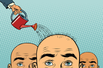 Remedy for hair growth. bald man poured from a watering can Wall mural