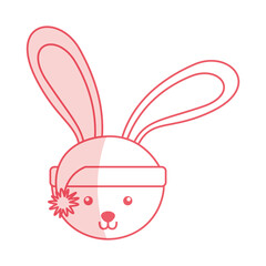 cute shadow christmas rabbit face cartoon graphic design