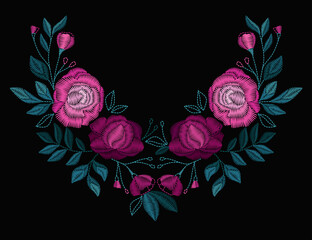 Vector design for collar t-shirts and blouses. Colorful flowers neck line. Embroidery for Fashion. Vector illustration.