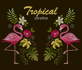 Embroidery stitches with flamingo birds and tropic flowers for neckline. Vector design for collar t-shirts and blouses.  120 / 200 characters * Keywords: