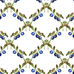Seamless pattern with  blueberry
