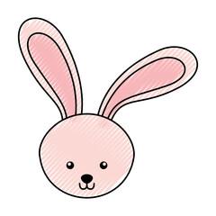 cute scribble rabbit face cartoon graphic design