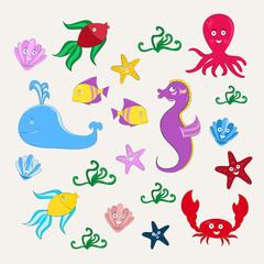 Sea animals in cartoon style