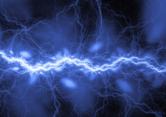 Blue lightning, abstract plasma background
